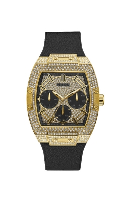 Guess Gold Tone Black Genuine Leather And Silicone Watch GW0048G2 product image