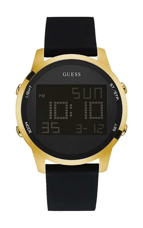 Guess Men's Gold Tone Black Silicone Watch U0787G1 product image