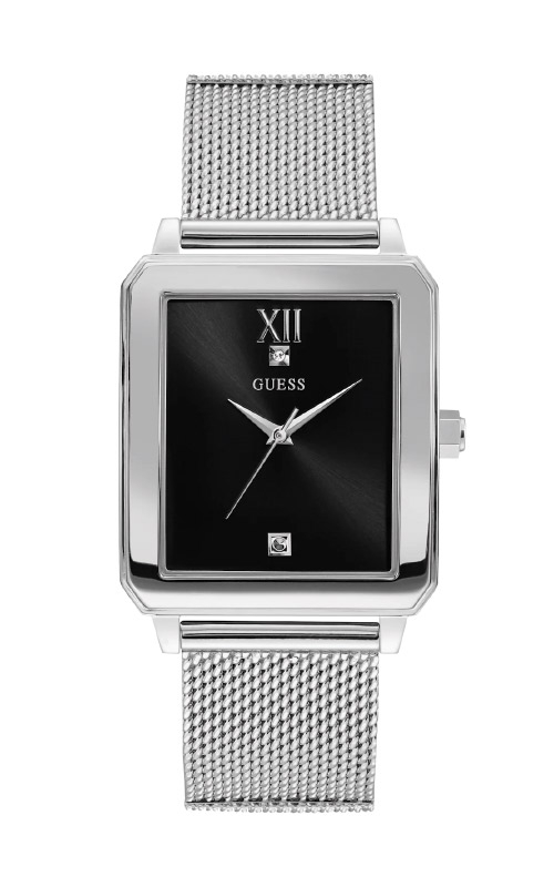 Guess Men's Silver-Tone and Black Rectangular Watch U1074G1 product image
