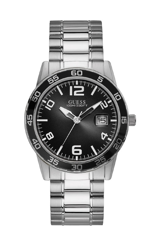Guess Men's Silver-Tone And Black Dial Analog Watch U1172G1 product image