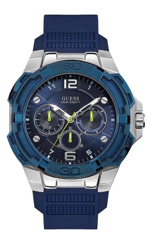 Guess Men's Silver Tone Blue Silicone Watch U1254G1 product image