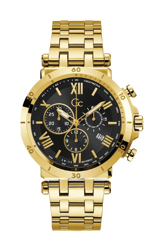 Guess Men's Gc Gold Tone and Black Chronograph Watch Y44006G2MF product image