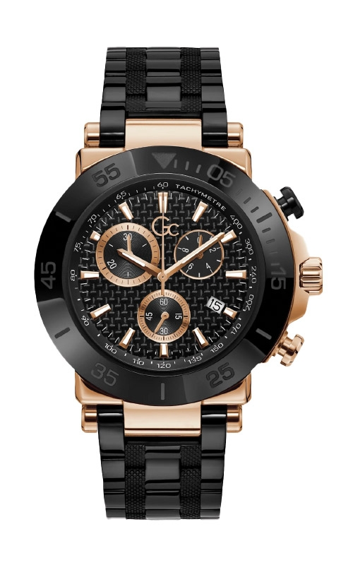 Guess Men's Gc Black and Rose Gold Tone Chronograph Watch Y70002G2MF product image