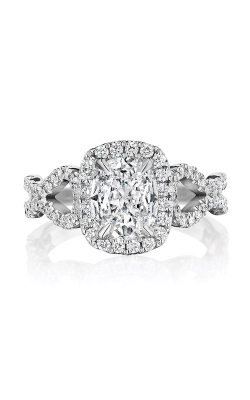 Henri Daussi 18k White Gold 1.01 Cushion Engagement Ring AKSA product image