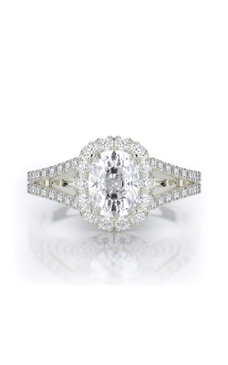 Henri Daussi 18k White Gold .50ct Cushion Engagement Ring AMDS product image