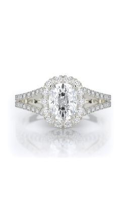 Henri Daussi 18k White Gold .55ct Cushion Engagement Ring AMDS product image