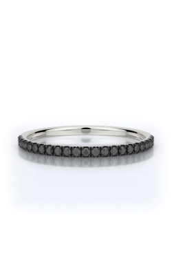 Henri Daussi 14k White Gold .18ctw Black Diamond Wedding Band R1-4H product image