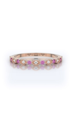 Henri Daussi 18k Rose Gold .14ct Pink Sapphire Wedding Band R26-7H product image