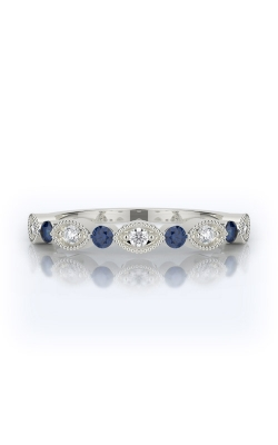 Henri Daussi 18k White Gold .15ctw White Diamond & Blue Sapphire Wedding Band R37-6H product image