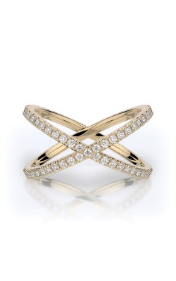 Henri Daussi 14k Yellow Gold .55ctw Pave X Ring R38-3E product image