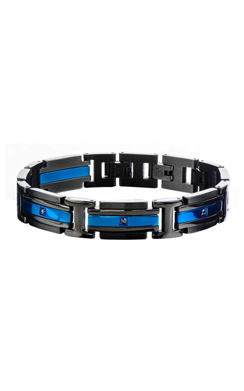Inox Stainless Steel Matte Black and Blue CZ Bracelet BR17835 product image