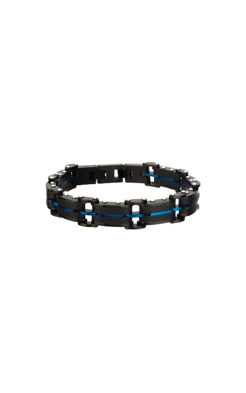 Inox Black Carbon Fiber and Blue Plated ID Link Bracelet BR20109BLU product image