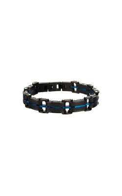 Inox Black Carbon Fiber And Blue Plated ID Link Bracelet BR20109BLU