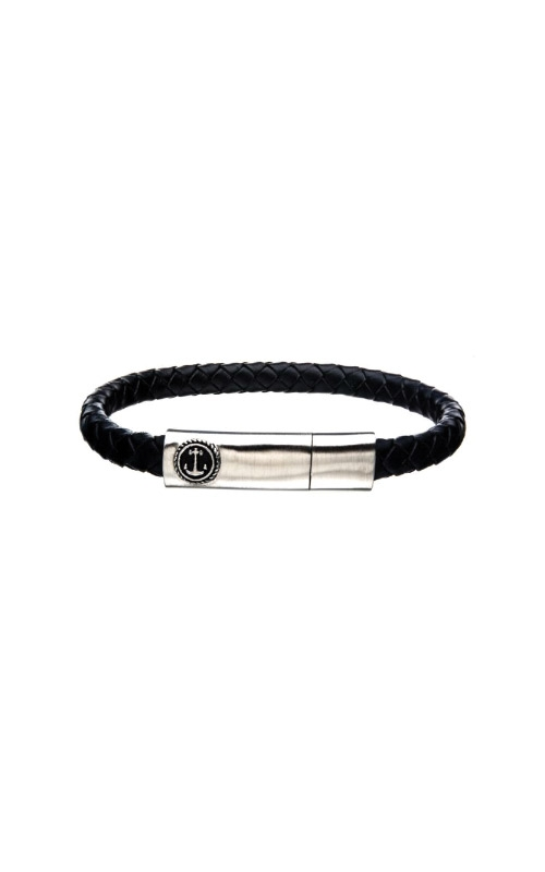 Inox Steel Black Leather Anchor Bracelet BR24133BLKS product image