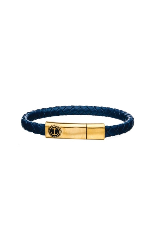 Inox Steel Blue Leather Anchor Bracelet BR24133BLUGP product image