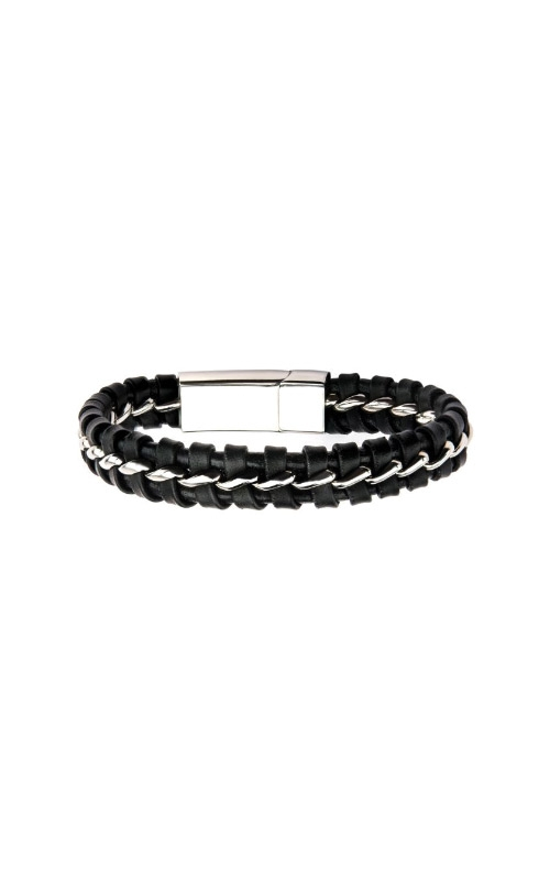 Inox Steel and Black Leather Bracelet BR307 product image