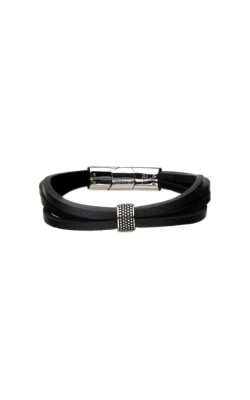Inox Stainless Steel Black Leather Bracelet BR32242K product image