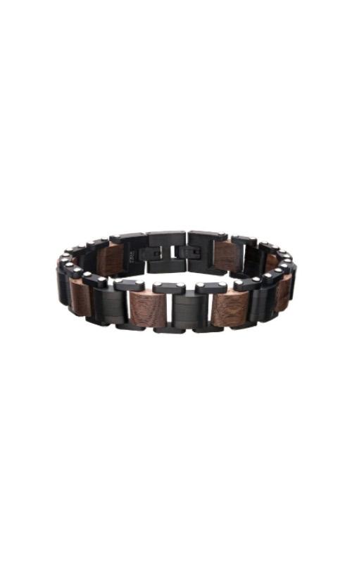 Inox Stainless Steel Brown Walnut Wood Link Bracelet BR33658K product image