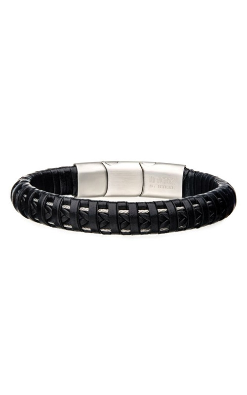 Inox Black Leather with Steel Clasp Bracelet BR336K product image