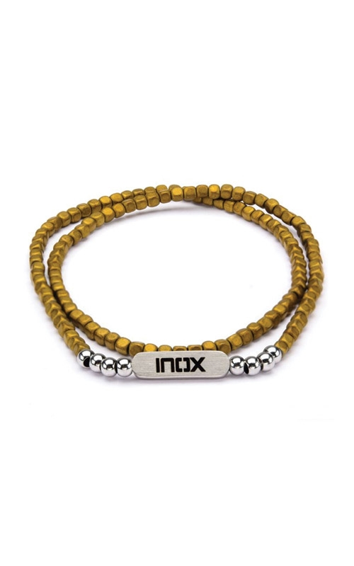Inox  6mm Grey Brown Hematite Cube & Steel Beads Bracelet BR619 product image