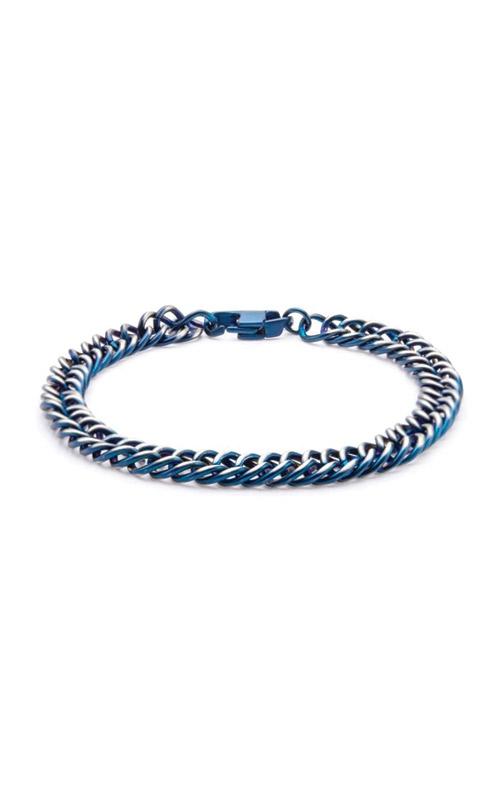 Inox Steel Blue Plated Curb Chain Bracelet BR7622B product image