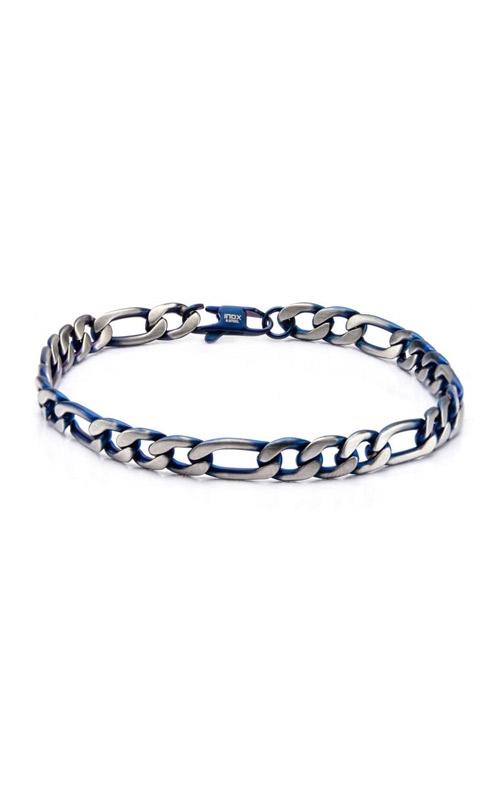 Inox Steel Blue Plated Figaro Chain Bracelet BR7629B product image