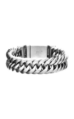 Inox Matte Double Layer Curb Link and Chain Bracelet BRBGB33M-85 product image