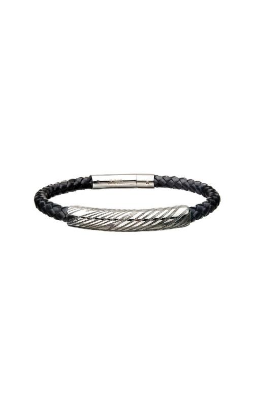 Inox Black Damascus Leather Bracelet BRDMS179K product image