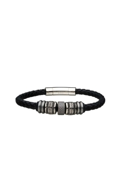 Inox Stainless Steel Black Leather Bracelet BRLB0856 product image