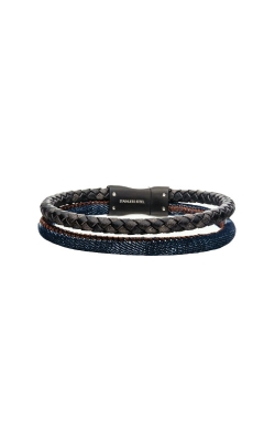 Inox Stainless Steel Double Leather And Jean Bracelet BRLB1131 product image