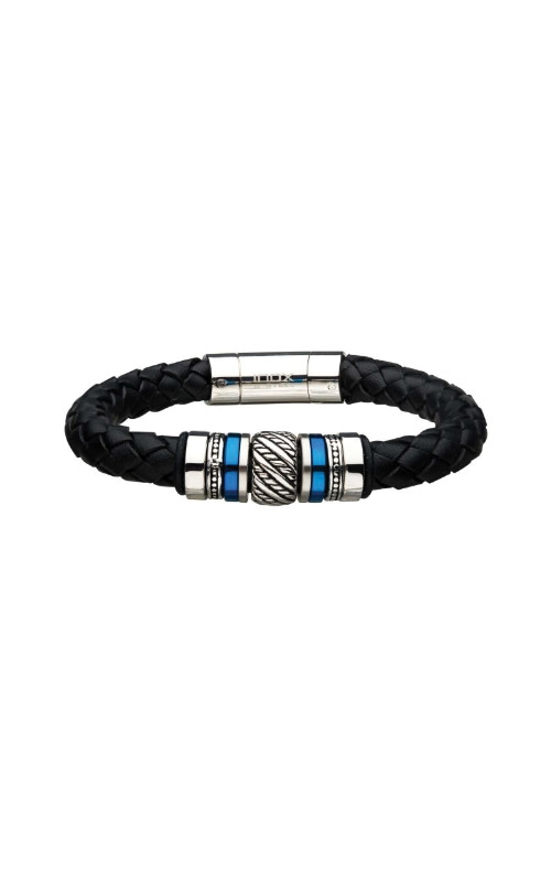 Inox Stainless Steel Black and Blue Leather Bracelet BRLB1203 product image