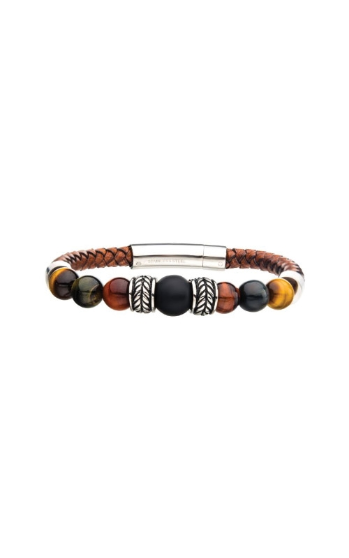 Inox Stainless Steel Brown Beaded Leather Bracelet BRLB1223 product image