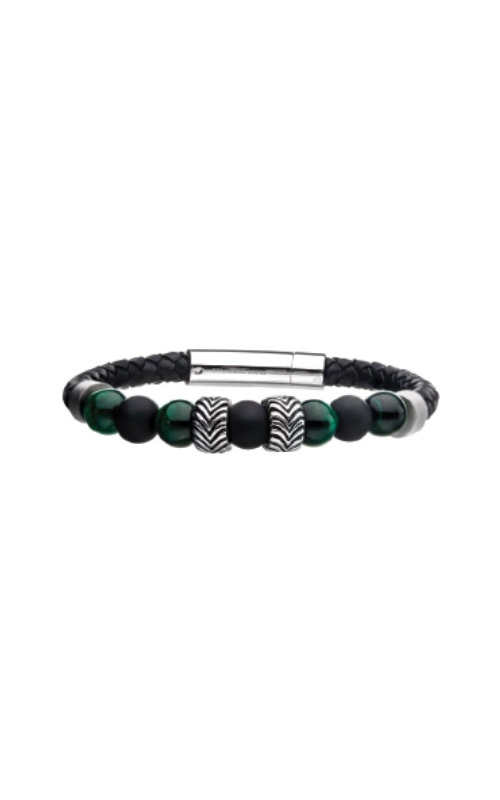 Inox Stainless Steel Black Leather Malachite Bracelet BRLB1226 product image
