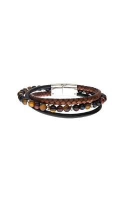 Inox Stainless Leather And Beaded Tiger Eye Bracelet BRLB1308 product image