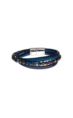 Inox Blue And Black Leather Cat Eye Bracelet BRLB1317 product image