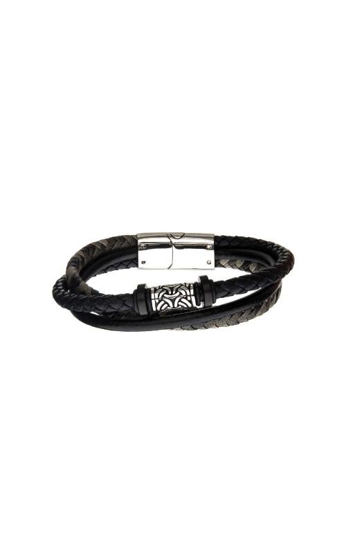 Inox Stainless Steel Black Leather Bracelet BRLB1338 product image