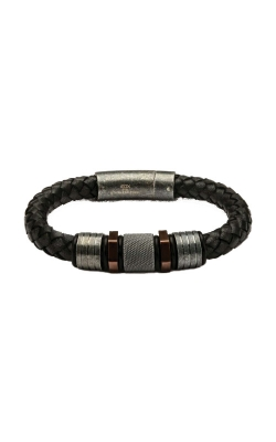 Inox Black Braided Leather With Rose Gold Plated & Steel Beads Bracelet BRLB870 product image