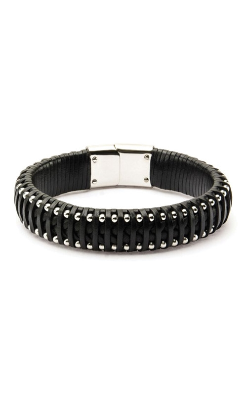 Inox Black Leather with Steel Ball Edge Bracelet BRLS012 product image