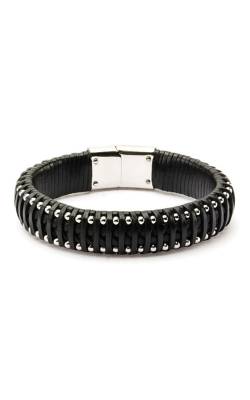 Inox Black Leather With Steel Ball Edge Bracelet BRLS012 product image