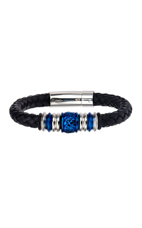 Inox Stainless Steel Black and Blue Leather Bracelet BRLT758 product image