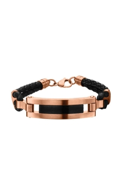 Inox Rose Gold Plated and Matte Black Finished ID in Black Leather Bracelet BRRA145 product image