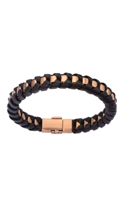 Inox Rose Gold Plated Matte Finished Black Leather Bracelet BRRALT7 product image