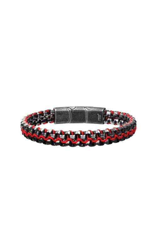 Inox Steel Brushed Black with Red Bracelet BRSWWIRB014MR product image