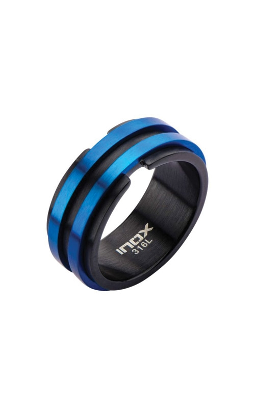 Inox Stainless Steel Black and Blue Plated Ring FR17834-12 product image