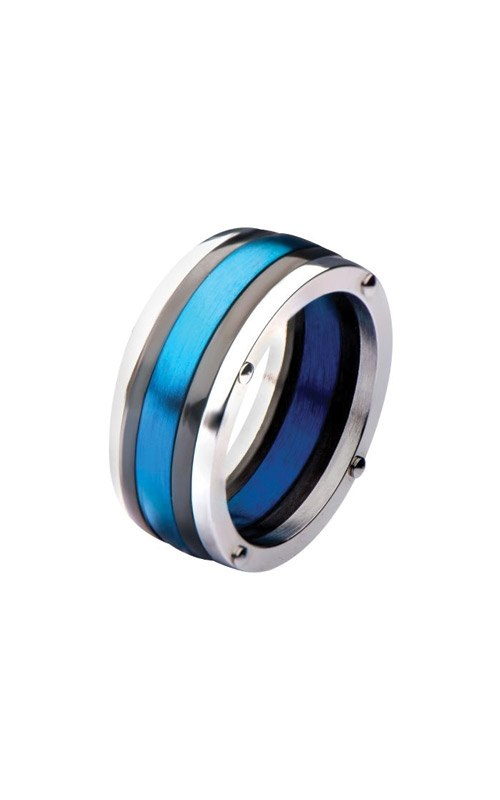 Inox Stainless Steel Black Plated & Blue Plated Polished Ring FR19807-10 product image