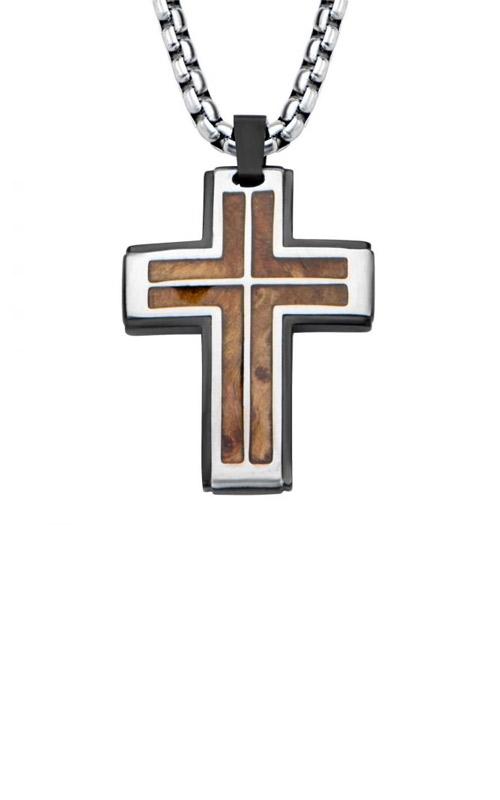 Inox Stainless Steel Rose Wood Cross Pendant HBSSP1505CRNK1 product image