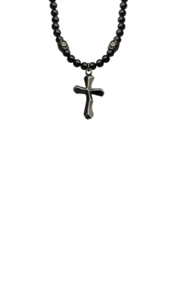 Inox Stainless Steel 28 Inch Black Beaded NKRA620BK Cross Necklace   product image