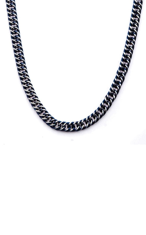 Inox Steel Blue Plated Curb Chain Necklace NSTC7622B-22 product image