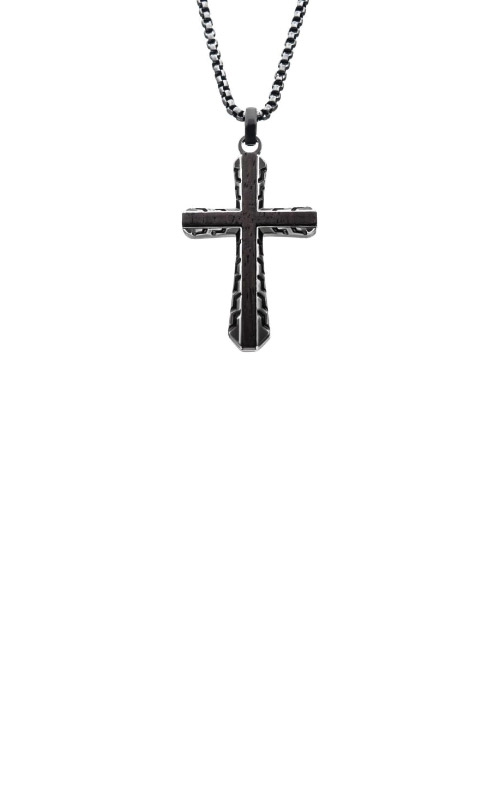Inox Gunmetal and Ebony Cross Necklace SSP007HNK1 product image