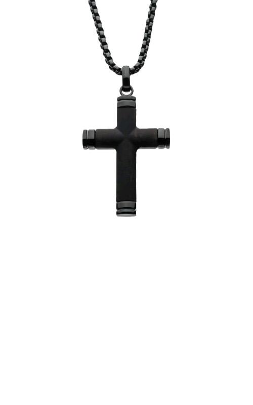 Inox Ebony Wood Black Plated Cross Necklace SSP008FNK1 product image